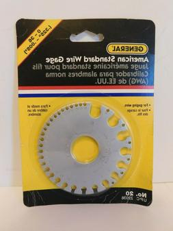 GENERAL TOOLS 0 to 36 AMERICAN STANDARD WIRE GAGE Gauge No.