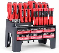 100 piece magnetic screwdriver set with plastic