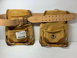 2 10 POCKET HEAVY DUTY TAN SUEDE LEATHER NAIL AND TOOL POUCH