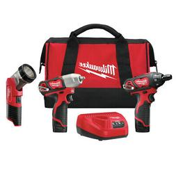 Milwaukee 2491-23 M12 Cordless 3-Tool Combo Kit  New