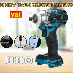 """Cordless Brushless Impact Wrench Tools 18V 520Nm 1/2"""" Adapte"""