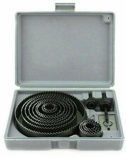 Hole Saw Drill Bit Kit 16pc w/ Mandrels Saws w/ Case Wood Pl
