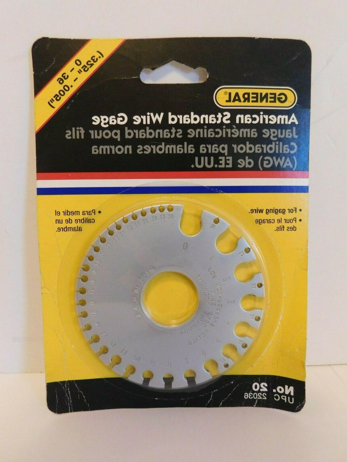 0 to 36 american standard wire gage