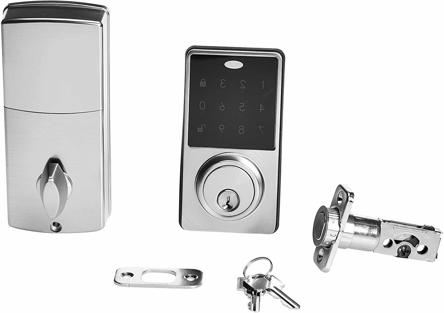 AmazonBasics Electronic Deadbolt Door Lock Classic Satin Modern