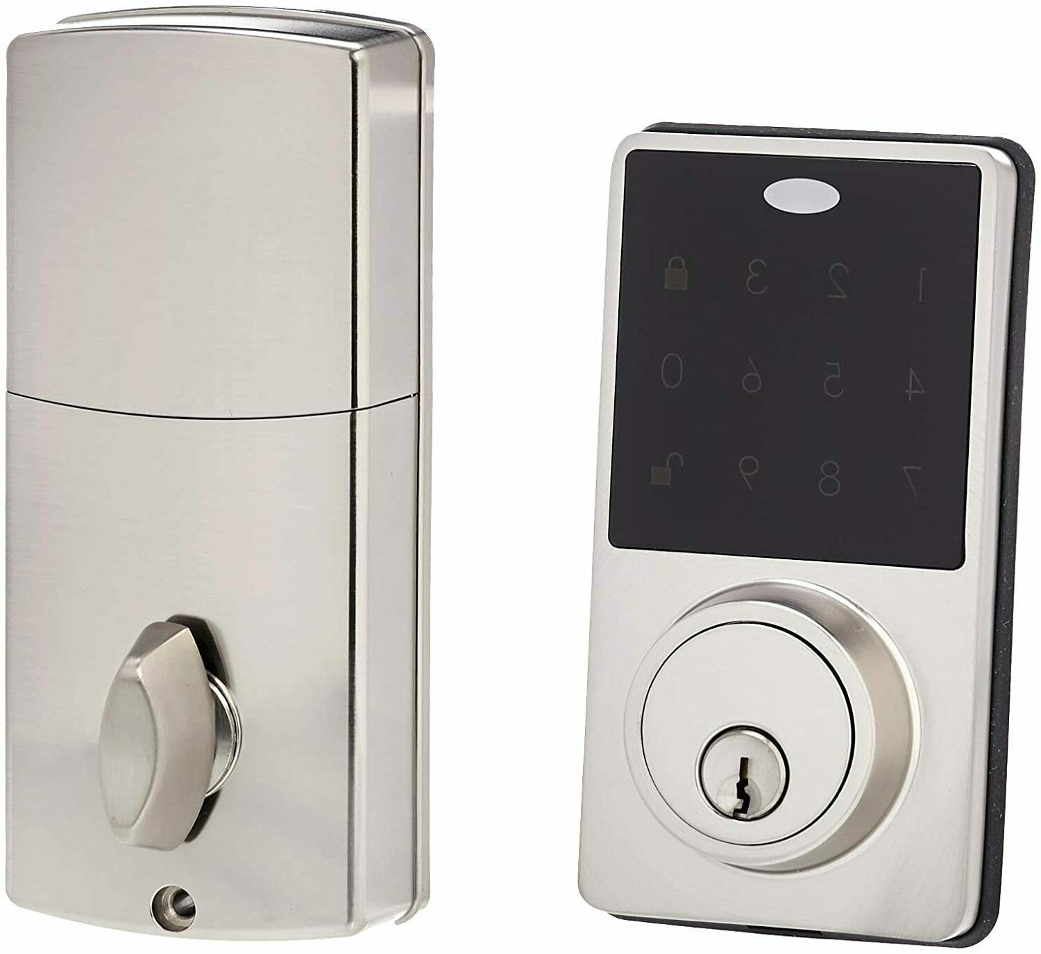 electronic deadbolt door lock classic satin nickel