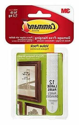 Command Large Picture Hanging Strips, White, 12 Sets of Stri