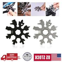 Stainless Tool Snowflake Shape Key Chain Screwdriver-18 In 1