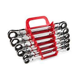TEKTON WRN76164 Flex-Head Ratcheting Box End Wrench Set with